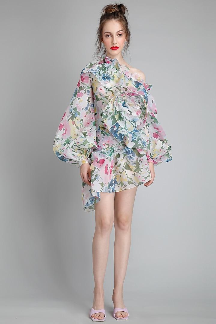 Monet Printed One Shoulder Dress by Gauri And Nainika
