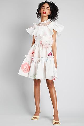 Cream Printed Mini Dress by Gauri And Nainika