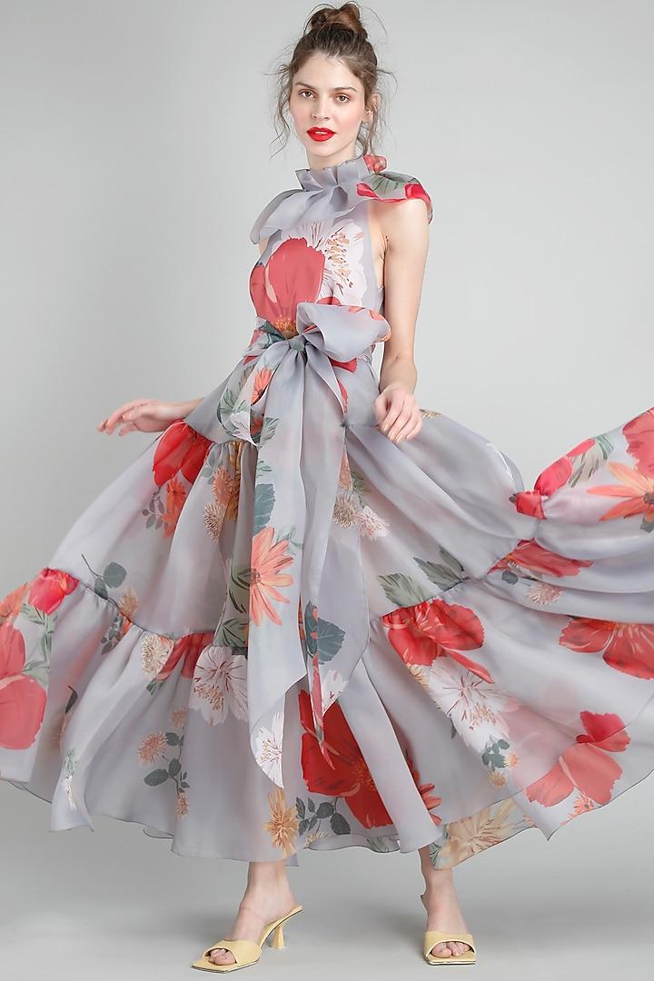 Grey Floral Printed Dress by Gauri And Nainika