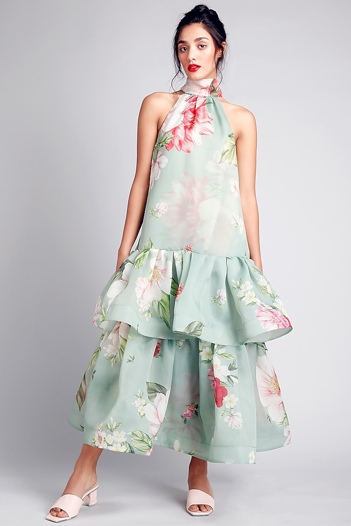 Green Floral Printed Dress by Gauri And Nainika