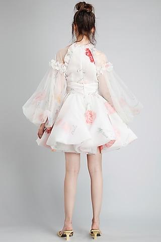 Cream Botanical Printed Dress by Gauri And Nainika