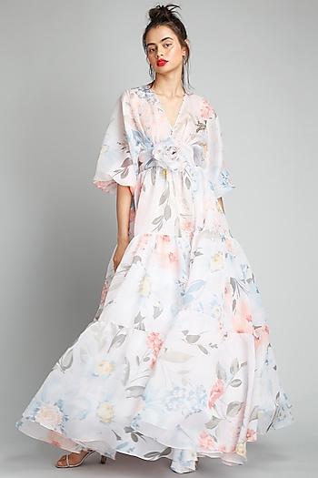 White Floral Printed Dress by Gauri And Nainika