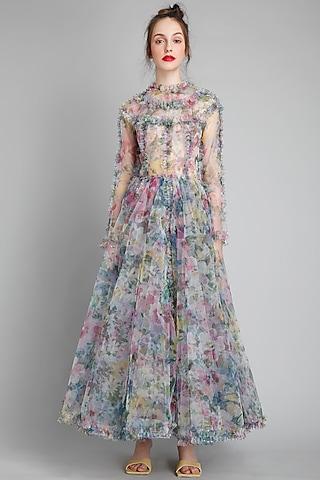 Monet Printed & Ruffled Dress by Gauri And Nainika