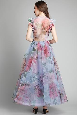 English Blue Floral Printed Dress by Gauri And Nainika