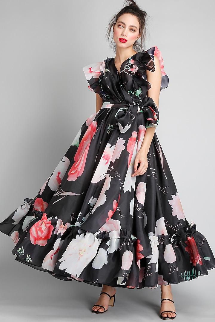 Black Printed Wrap Dress by Gauri And Nainika