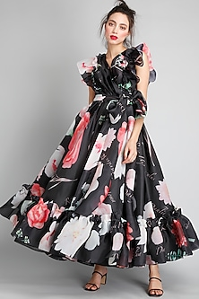 Black Printed Wrap Dress by Gauri And Nainika-GAURI AND NAINIKA