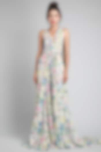 Monet Printed Gown With Belt by Gauri And Nainika