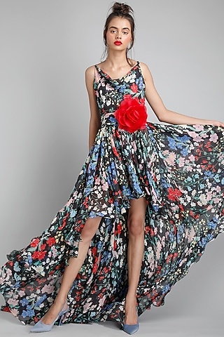 Black Printed High-Low Gown by Gauri And Nainika