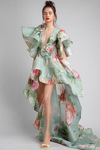 Green Printed High-Low Dress by Gauri And Nainika
