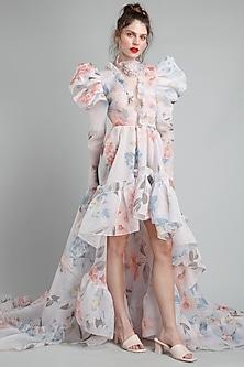 White Floral Printed High-Low Dress by Gauri And Nainika-GAURI AND NAINIKA