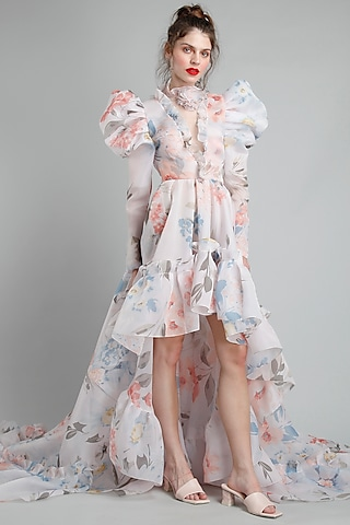 White Floral Printed High-Low Dress by Gauri And Nainika
