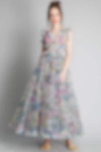 Monet Printed Net Dress by Gauri And Nainika