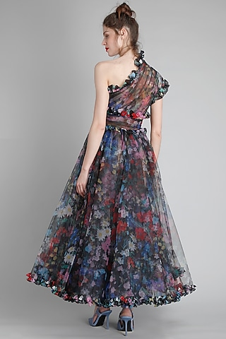 Black One Shoulder Printed Dress by Gauri And Nainika