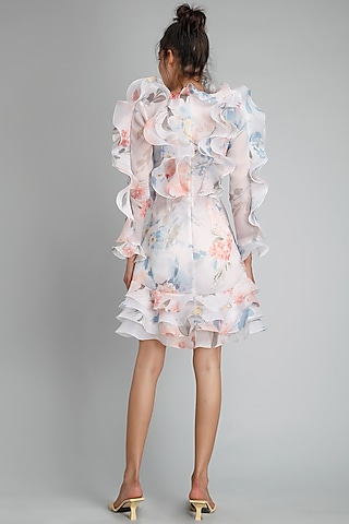 White Printed & Ruffled Dress by Gauri And Nainika
