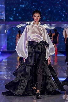 Black Layered Overskirt With Tie-Up by Gauri and Nainika