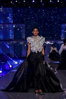 Black Satin Pants With Paper Bag Waist by Gauri and Nainika