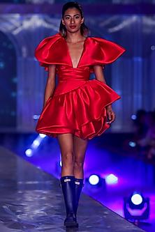 Red Dress With Ruffled Sleeves by Gauri and Nainika