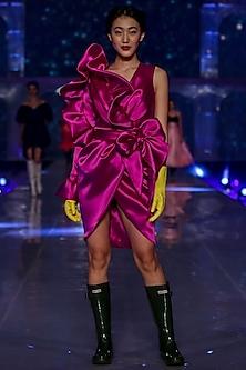 Purple Dress With Bubble Ruffles by Gauri and Nainika