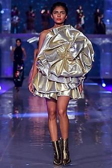 Gold Dress With Bubble Ruffles by Gauri and Nainika