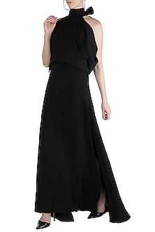 Black Halter Neck Gown by Gauri and Nainika