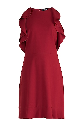 Maroon Cold Shoulder Mini Dress by Gauri and Nainika