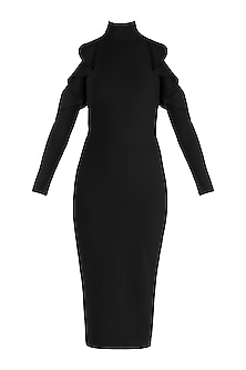 Black Cold Shoulder Pencil Dress With Frills by Gauri and Nainika
