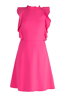 Fuchsia Halter Neck Mini Dress by Gauri and Nainika