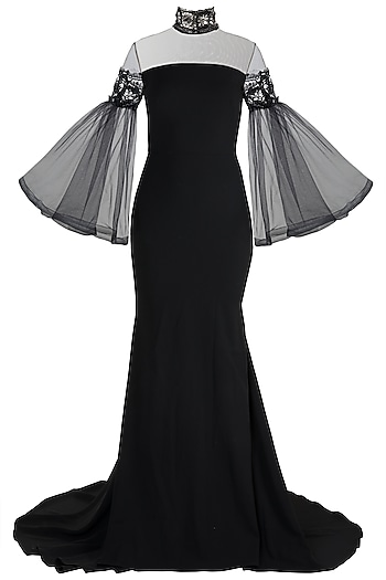 Black High-Neck Gown by Gauri and Nainika
