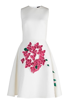 White A-Line Neoprene Dress by Gauri and Nainika