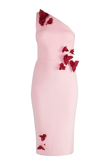 Blush Pink One Shoulder Pencil Dress by Gauri and Nainika