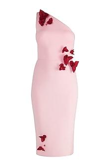 Blush Pink One Shoulder Pencil Dress by Gauri and Nainika