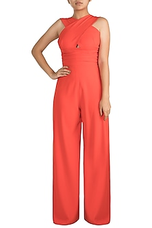Red Crossover Jumpsuit by Gauri and Nainika