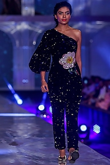 Black Embroidered Velvet Jumpsuit by Gauri and Nainika
