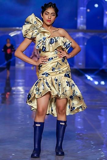 Yellow Printed High-Low Dress by Gauri and Nainika