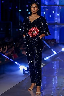 Navy Blue Embroidered Jumpsuit by Gauri and Nainika
