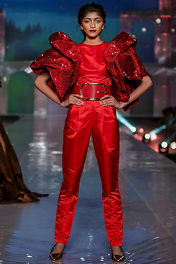 Red Layered Jumpsuit With Paper Bag Waist by Gauri and Nainika