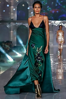 Emerald Green Embroidered Dress With Draped Bow by Gauri and Nainika