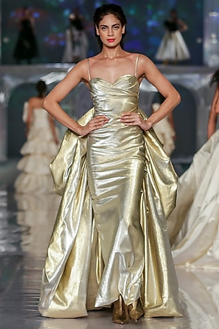 Light Gold Metallic Gown by Gauri and Nainika