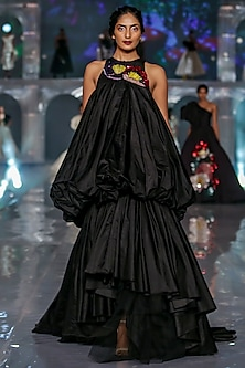 Black Embroidered Bubble Gown by Gauri and Nainika