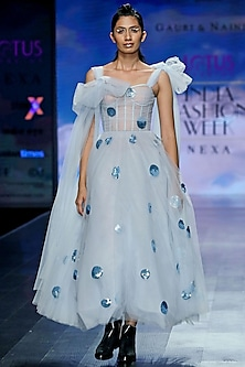 Sky Blue Corset Dress With Polka Dots by Gauri and Nainika
