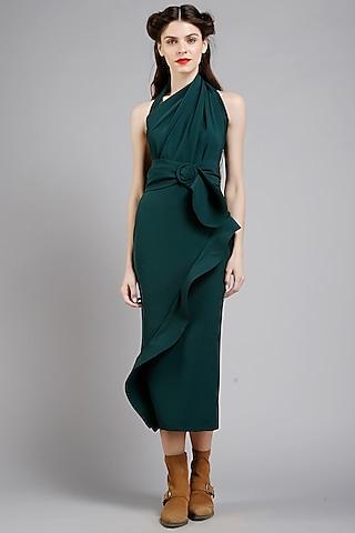 Dark Green Sculpted Dress by Gauri And Nainika