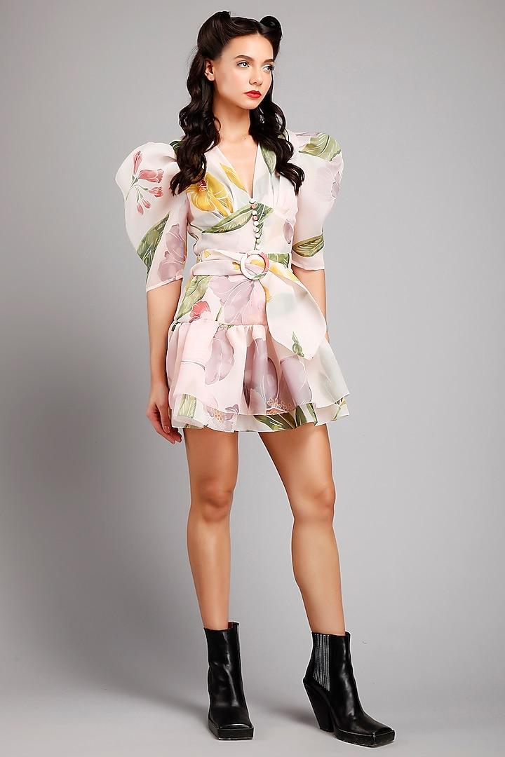 Pink Floral Printed Dress by Gauri And Nainika