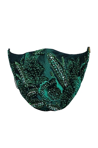 Emerald Green Embellished Mask by Gaya