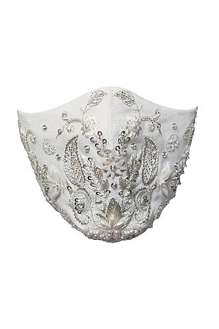 White & Silver Embellished Mask by Gaya