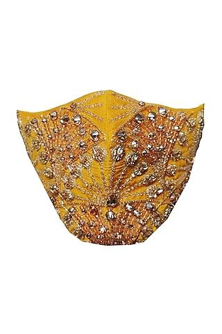 Yellow & Gold Embellished Mask by Gaya