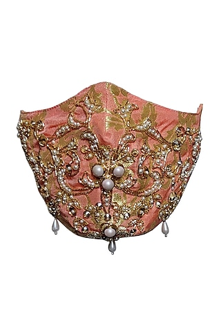 Peach & Gold Embellished Mask by Gaya