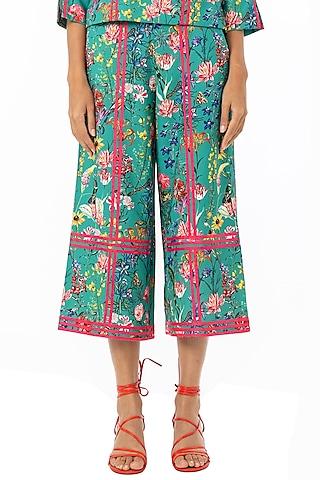 Emerald Green Printed Culotte Pants by Gaya