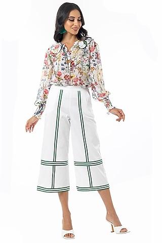 White & Green Cotton Satin Culotte Pants by Gaya