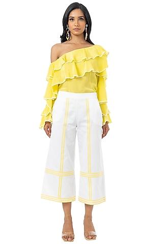 White & Yellow Cotton Satin Culotte Pants by Gaya