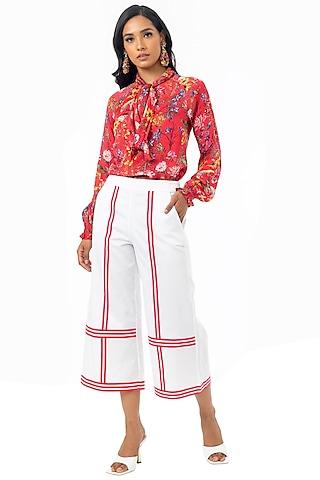 White & Pink Cotton Satin Culotte Pants by Gaya